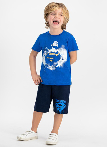 Superman  Lisanslı Cobalt Erkek Çocuk Bermuda Takım Mavi